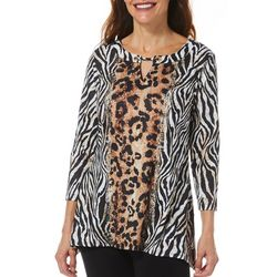 Hearts of Palm Womens Off Tropic Mixed Animal Print Top