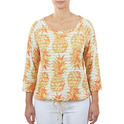 Hearts of Palm Womens Embellished Pineapple Top