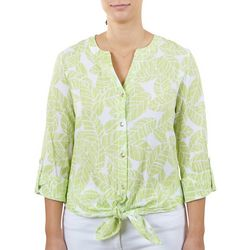 Hearts of Palm Womens Tie Front Rolled Cuff Top