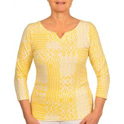 Hearts of Palm Womens Ikat Print Split Neck Top