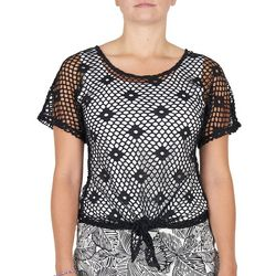 Hearts Of Palm Womens Diamond Mesh Tie Short Sleeve Top