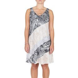 Hearts of Palm Womens Diagonal Palm Leaf Dress