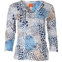 Hearts of Palm Womens Animal Print Surplice Top