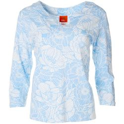 Hearts of Palm Womens Floral Essentials 3/4 Sleeve Top