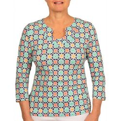 Hearts of Palm Womens Medallion Print Horseshoe Neck Top