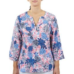 Hearts of Palm Womens Floral Split Neck 3/4 Sleeve Top