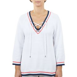 Hearts of Palm Womens Ribbed Striped Trim Sweater