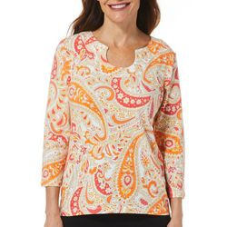 Hearts of Palm Womens Printed Essentials Jardin Paisely Top