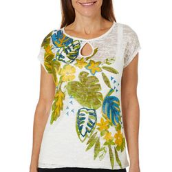 Hearts of Palm Womens Global Soul Palm Print Keyhole Top