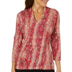 Hearts of Palm Womens Printed Essentials Snakeskin Print Top