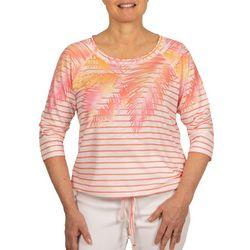 Hearts of Palm Womens Stripes & Foliage 3/4 Sleeve Top