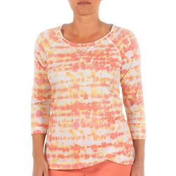 Hearts of Palm Womens Tie-Dye Rounded Neck Top