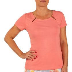 Hearts of Palm Womens Embellished Neck Detail Top