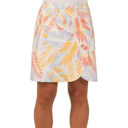 Womens Palm Frond Faux Wrap High Rise Skirt