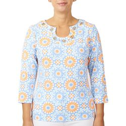 Hearts of Palm Womens Mosaic Tile Print Top