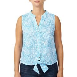 Hearts of Palm Womens Paisley Tie Front Sleeveless Top