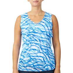 Hearts of Palm Womens Wavy Tiered Sleeveless Tank