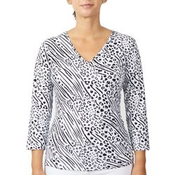 Hearts of Palm Womens Bicolor Printed Top