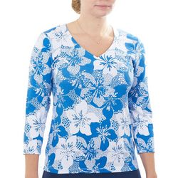 Hearts of Palm Womens Essentials Hibiscus Print Top