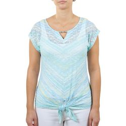 Hearts of Palm Womens Key Hole Neck Tie Front Top