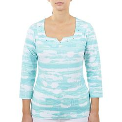 Hearts of Palm Womens Sweetheart Neckline 3/4 Top