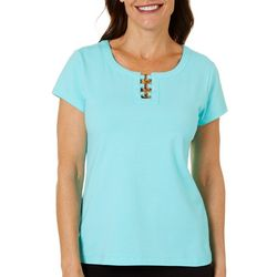 Hearts of Palm Womens Cage Neck Top