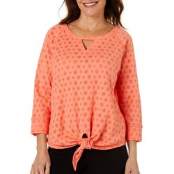 Hearts of Palm Womens Bright Ideas Burnout Tie Front Top