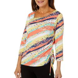 Hearts of Palm Womens Bright Ideas Striped Ruched Top