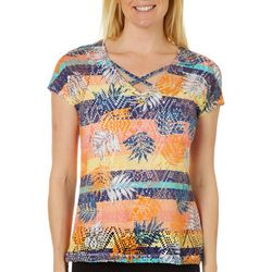 Hearts of Palm Womens Leaf Print Mesh Top