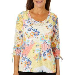 Hearts of Palm Womens Citrus Blast Ruched Burnout Top