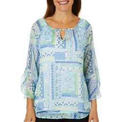Hearts of Palm Womens Patchwork Bell Sleeve Top