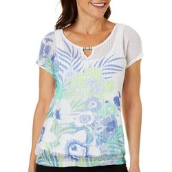 Hearts of Palm Womens Tropical Print Ring Neck Top