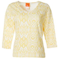 Hearts of Palm Womens Printed Essentials Ikat Print Top