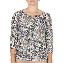 Hearts of Palm Womens Animal Printed Split Neck Top