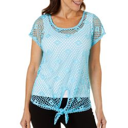 Hearts of Palm Womens In The Limelight Mesh Tie Front Top