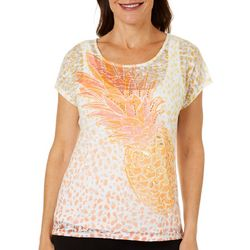 Hearts of Palm Womens Citrus Blast Embellished Pineapple Top