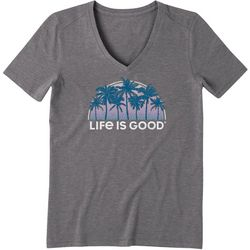 Life Is Good Womens Tropical Palms V-Neck T-Shirt