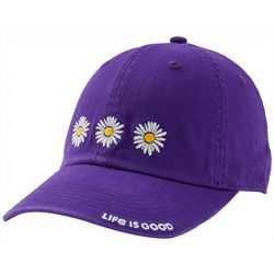 Life Is Good Womens 3 Daisies Embroidered Baseball