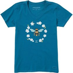 Life Is Good Womens Floral Bee Short Sleeve T-Shirt