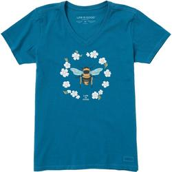 Womens Floral Bee Short Sleeve T-Shirt