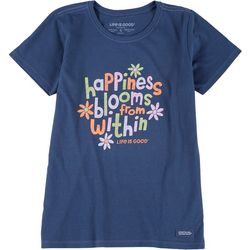 Life Is Good Womens Happiness Floral Crusher T-Shirt