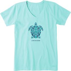 Womens Turtle Mosaic Crusher V-Neck T-Shirt