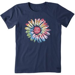 Life Is Good Womens Tie-Dye Sunflower T-Shirt