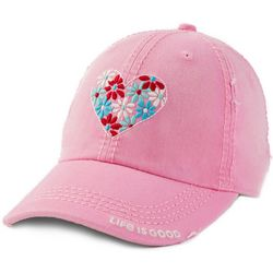 Life Is Good Womens Flower Heart Sunwashed Chill Cap