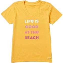 Life Is Good Womens Life Is Good At The Beach T-Shirt
