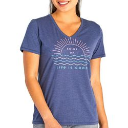 Life Is Good Womens Shine On Cool V-Neck T-Shirt
