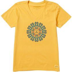 Life Is Good Womens Flip Flop Flower Crusher T-Shirt