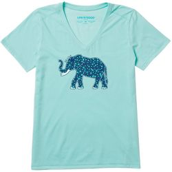 Life Is Good Womens Flower Elephant Cool V-Neck T-Shirt