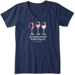 Life Is Good Womens Wine Diversified Portfolio Crusher Shirt