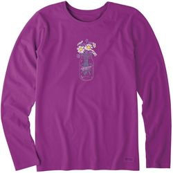Life Is Good Womens Daisy Mason Jar Crusher T-Shirt